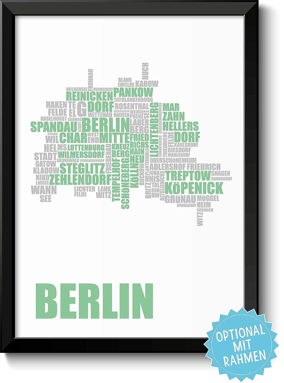 BERLIN-KARTE Bild mit Berliner Stadtbezirken – Rahmen optional ...