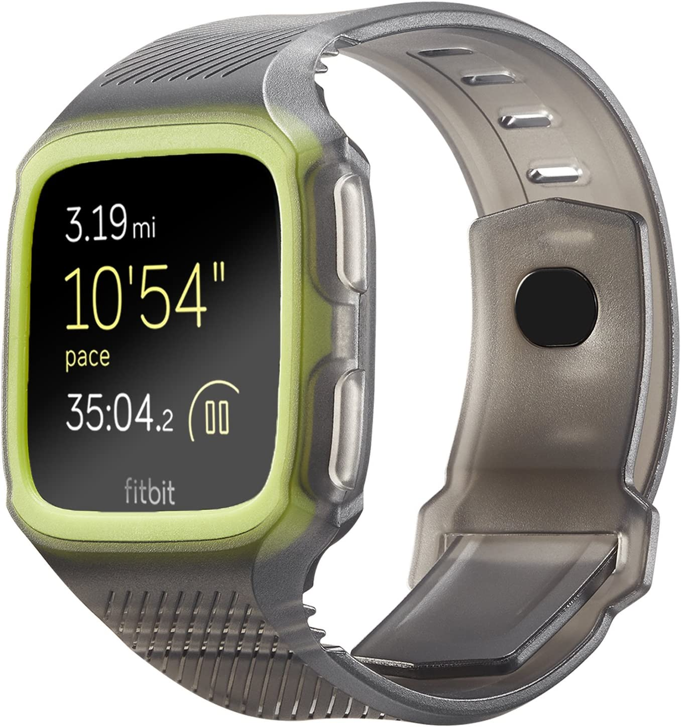 Shangpule Fitbit Versa Bands, Silicone Versa Rugged Wristband with Protective Case Frame, Anti-Impact Replacement Bands Quick Release Watch Bands Strap for Fitbit Versa (Translucent+ Green)