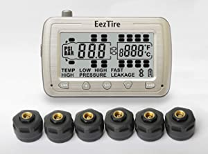 EEZTire-TPMS6 Real Time/24x7 Tire Pressure Monitoring System - 6 Anti-Theft Sensors, incl. 3-Year Warranty