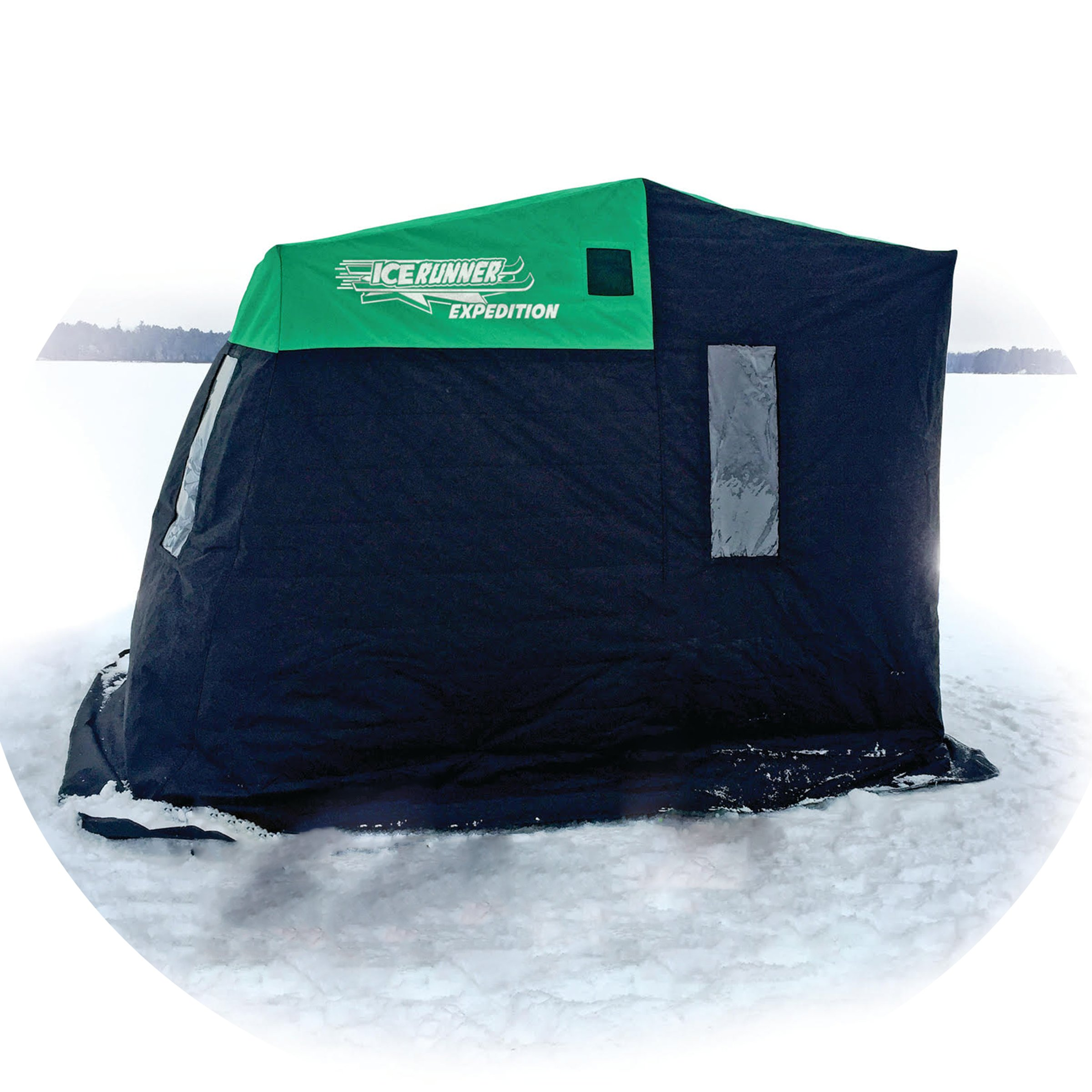 Ice Runner 3 Person Sled House, Green