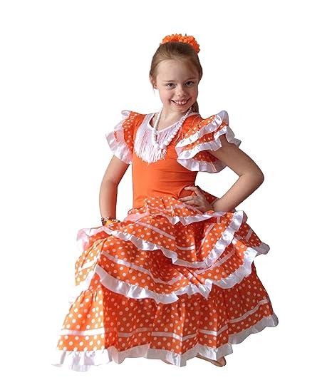 4972bd98495e0 La Senorita Spanish Flamenco Dress - Girls/Kids - Orange/White: Amazon.co.uk:  Clothing