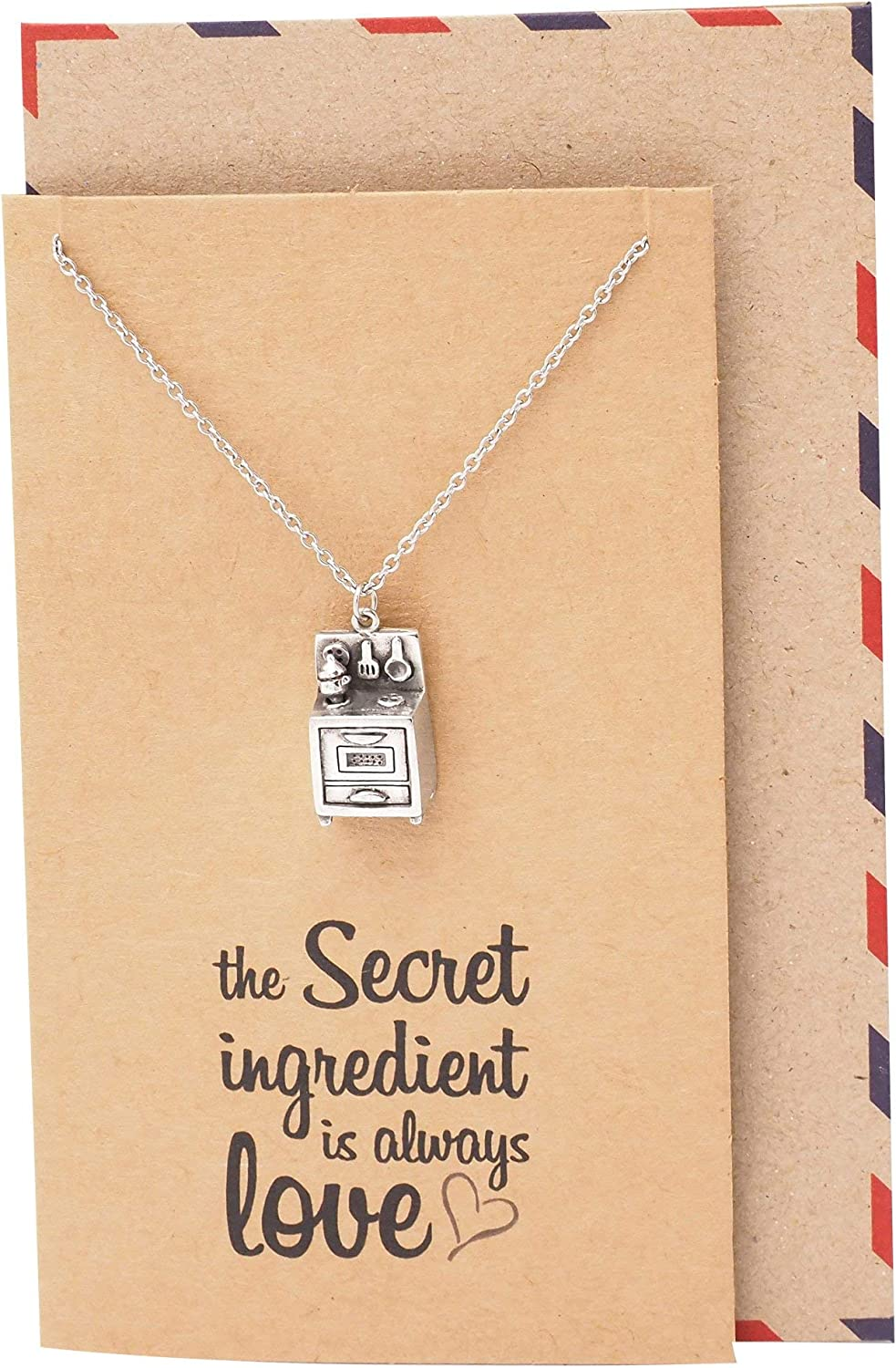 Quan Jewelry Kitchen Chef Necklace, Secret Ingredient is Love Quote Card, Gifts for Master Chef Baker Cook, Baker's Accessory, Culinary Gifts for Men & Women - 100% Handmade