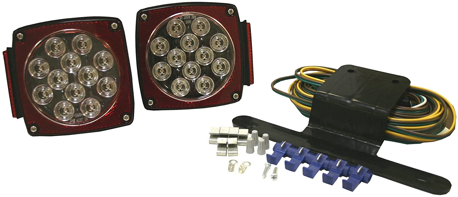 Blazer C5721 Led Square Submersible Trailer Light Kit Wiring Outdoor Lamp Posts Under 80 Inches Clear Automotive