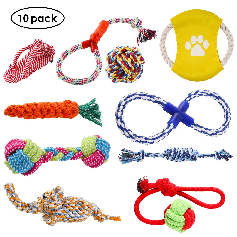 PEDY Lot de 10 Jouet Corde Chien Jouets de Mastication en Coton Tressée Convient pour les Chiens Petites et Moyennes