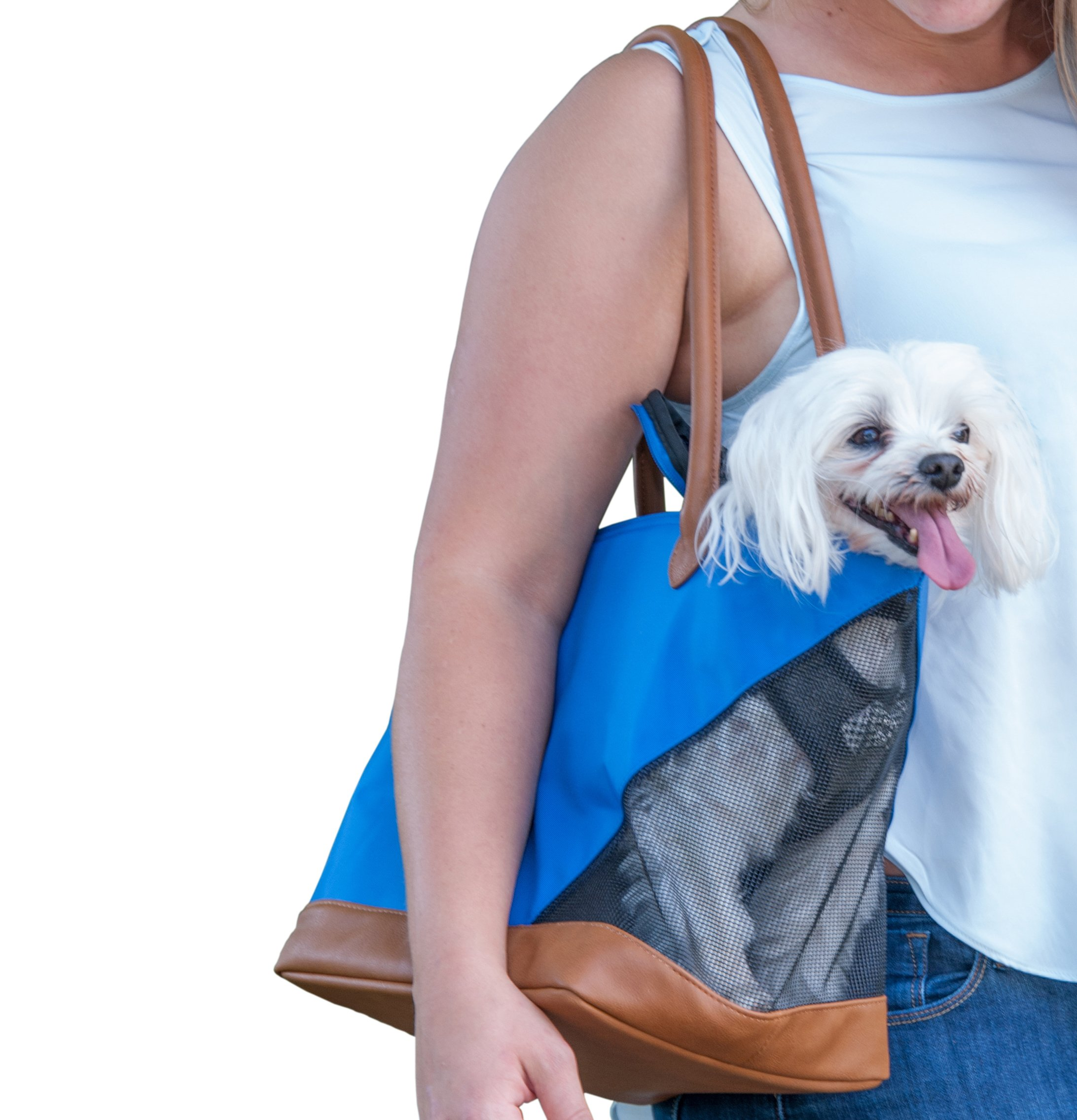 Pet Gear Tote Bag Carrier for Cats/Dogs, Storage Pocket, Removable Washable Liner, Zippered Top and Mesh Windows, Ultramarine