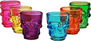 Circleware Skull Face Multi Colored Heavy Base Shot Glasses, 1.75 Ounce, Set of 6