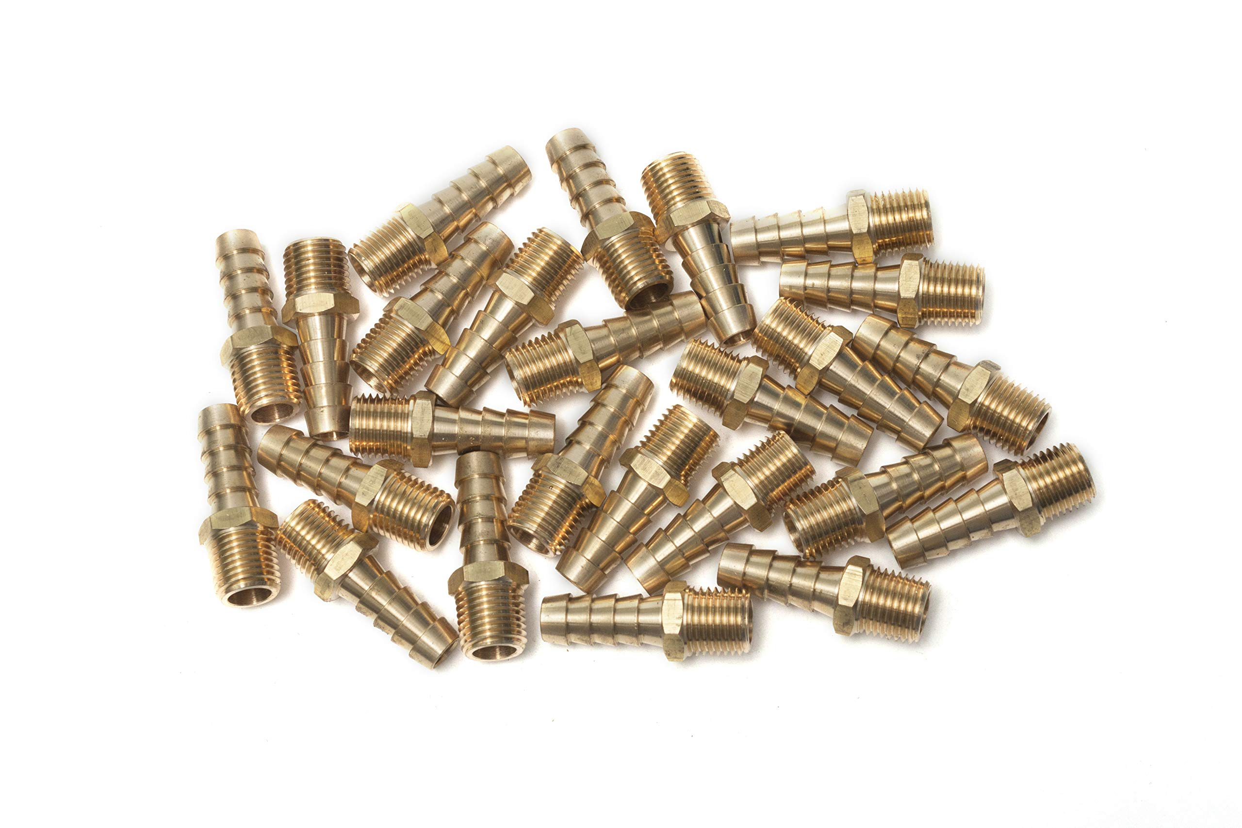 LTWFITTING 3/8'' Hose Barb x 1/4'' Male NPT Brass Coupler /Connector Fitting Fuel Gas( Pack of 25 )