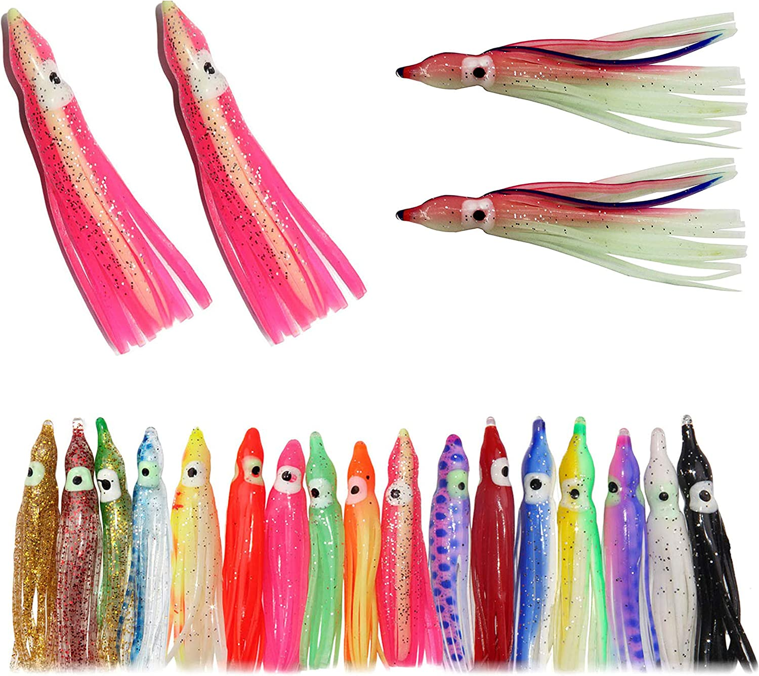 Soft Plastic Squid Lure Skirts 22cm//70g Fishing Lures Teaser Snapper Tackle