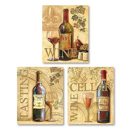 3 Wine Grape Art Tuscany Mounted Prints Kitchen Decor Set Of Three Mounted Prints Ready To Hang