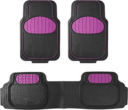 FH Group F11313PINK Rubber Floor Mat Pink Full Set Trim to Fit Mats