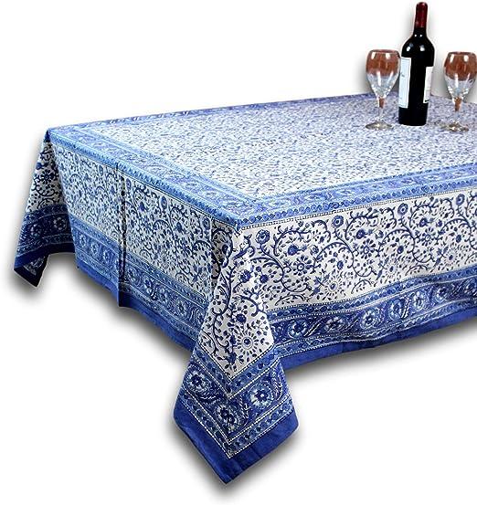 Amazon Com Homestead Rajasthan Block Print Tablecloth 60 X 90 Rectangle Home Kitchen