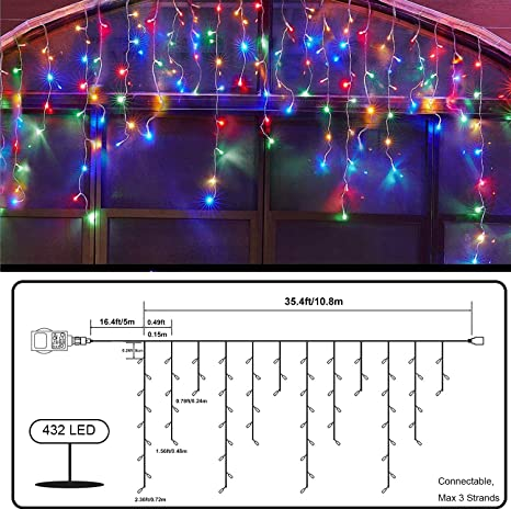 Patio Qedertek 432 LED Cortina de luces Prolongable Cortina Luces Decoraci/ón para Navidad 10M Guirnalda Luces de Hada Decorativas Navidad Boda Ventana Balc/ón Bar Luces de Navidad Blanco Frio