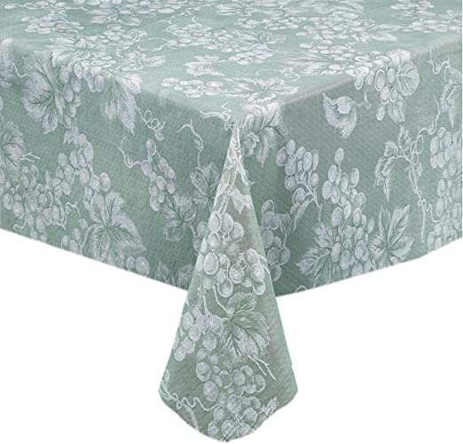 Amazon Com Grapevines Contemporary Grape Print Heavy 4 Gauge Vinyl Flannel Backed Tablecloth Indoor Outdoor Wipe Clean Tablecloth 60 Inch X 104 Inch Oblong Rectangle Sage Home Kitchen