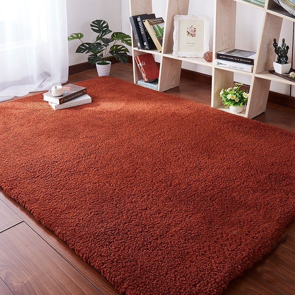 ZI LIN SHOP- Carpet Bedside Bed Mats Living Room Coffee Table Window Mat rug ( Color : Brown , Size : 200x140cm )