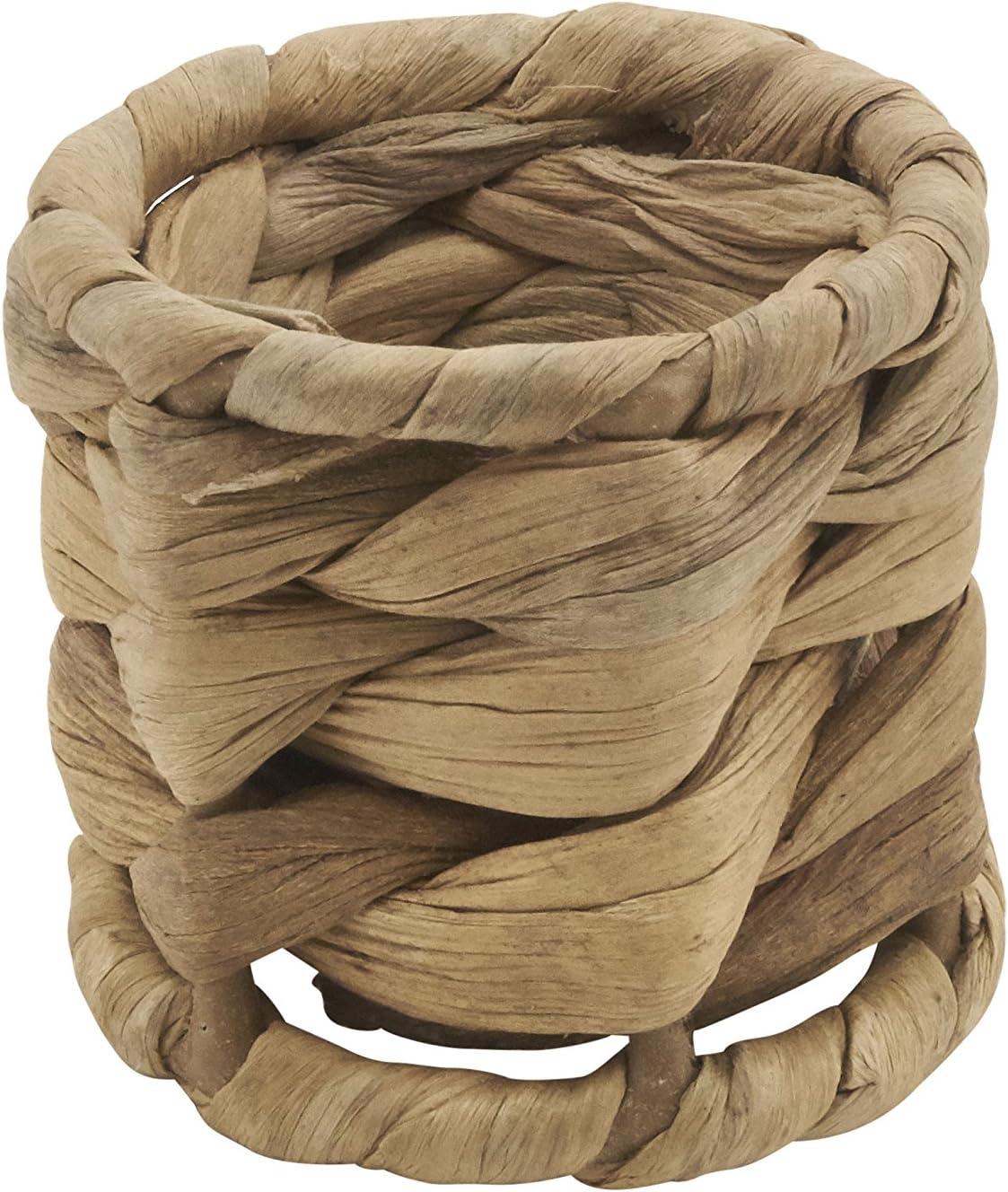 Set of 4 pcs SARO LIFESTYLE Avignon Design Woven Sea Grass Napkin Ring 2.5 x 2.5 Natural