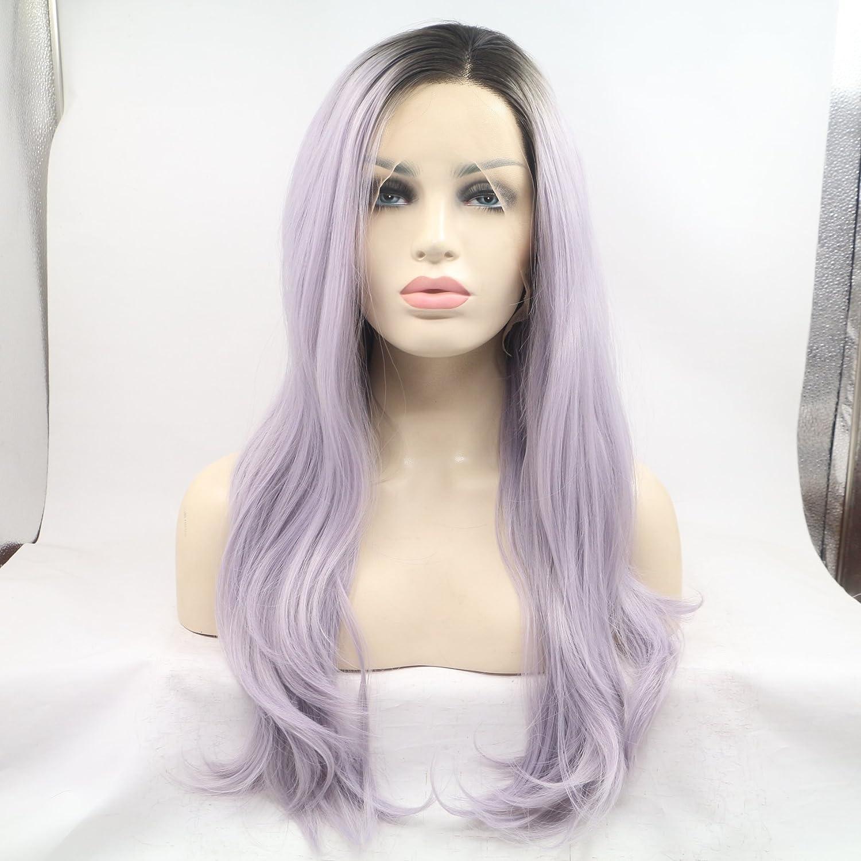 Fashion wigstyle nuevo negro morado Ombre largo ondulado luz morado Ombre Sythentic Lace Front Peluca LILA LAVANDA violeta peluca: Amazon.es: Belleza