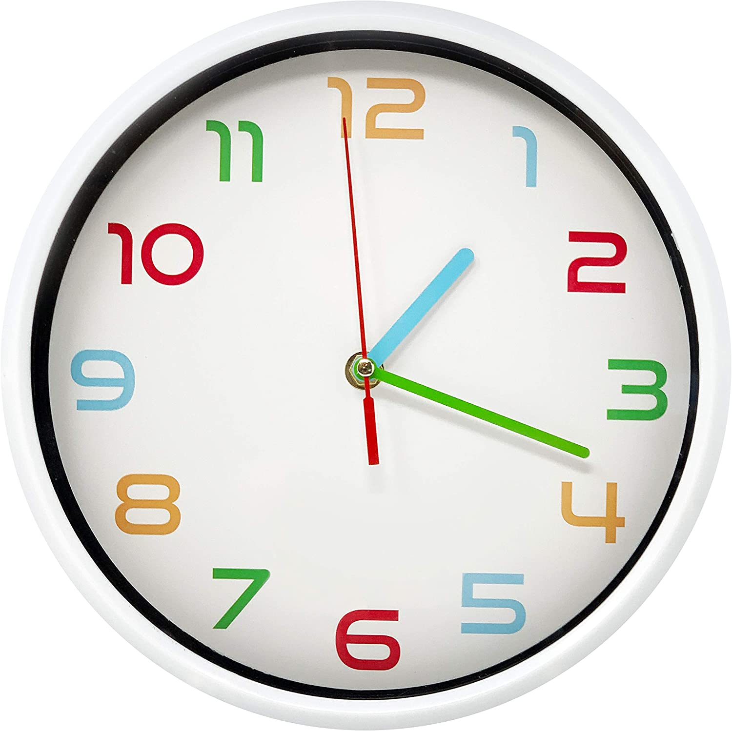 Non Ticking Modern Wall Clock with Silent Sweeping Movement, Battery Operated and Included, Kids Room, Bedroom, Living Room Décor, Minimalist Decorative Design, Color Numbers