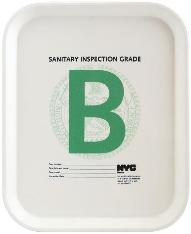 """Health Grade """"B"""" Tray"""