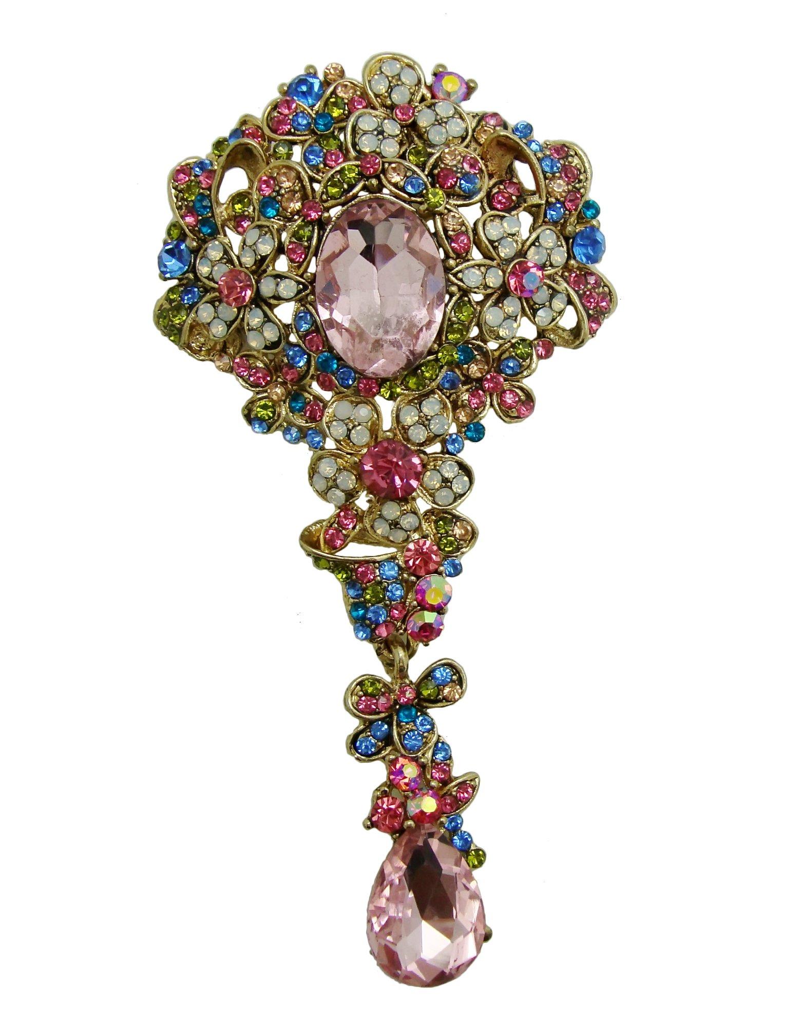 TTjewelry Vintage Style Lots Flowers Drop Austrian Crystal Brooch Pin Rhinestone Pendant (Multi-color)