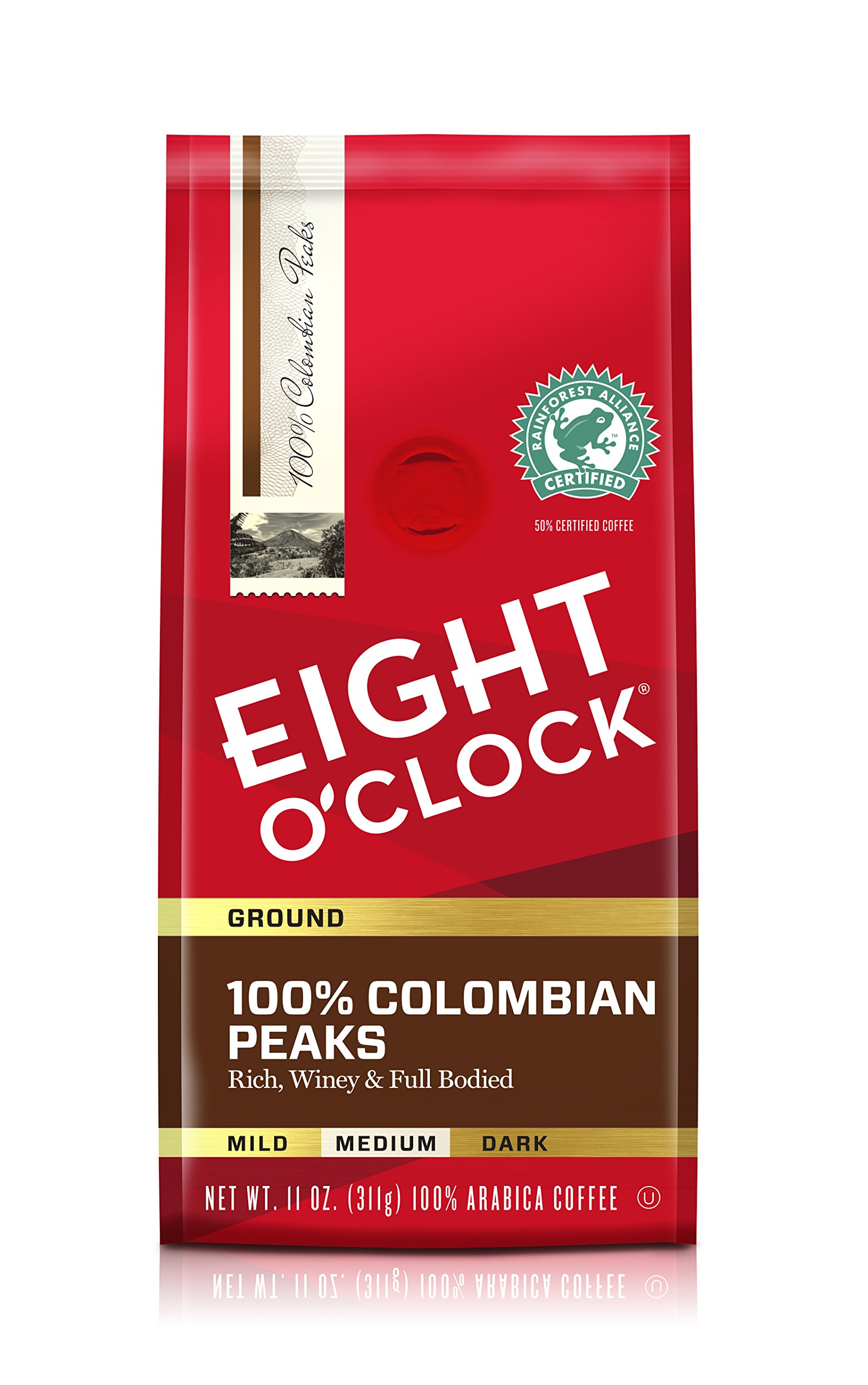 Eight O'Clock Ground Coffee, 100% Colombian Peaks, 11 Ounce (Pack of 6)