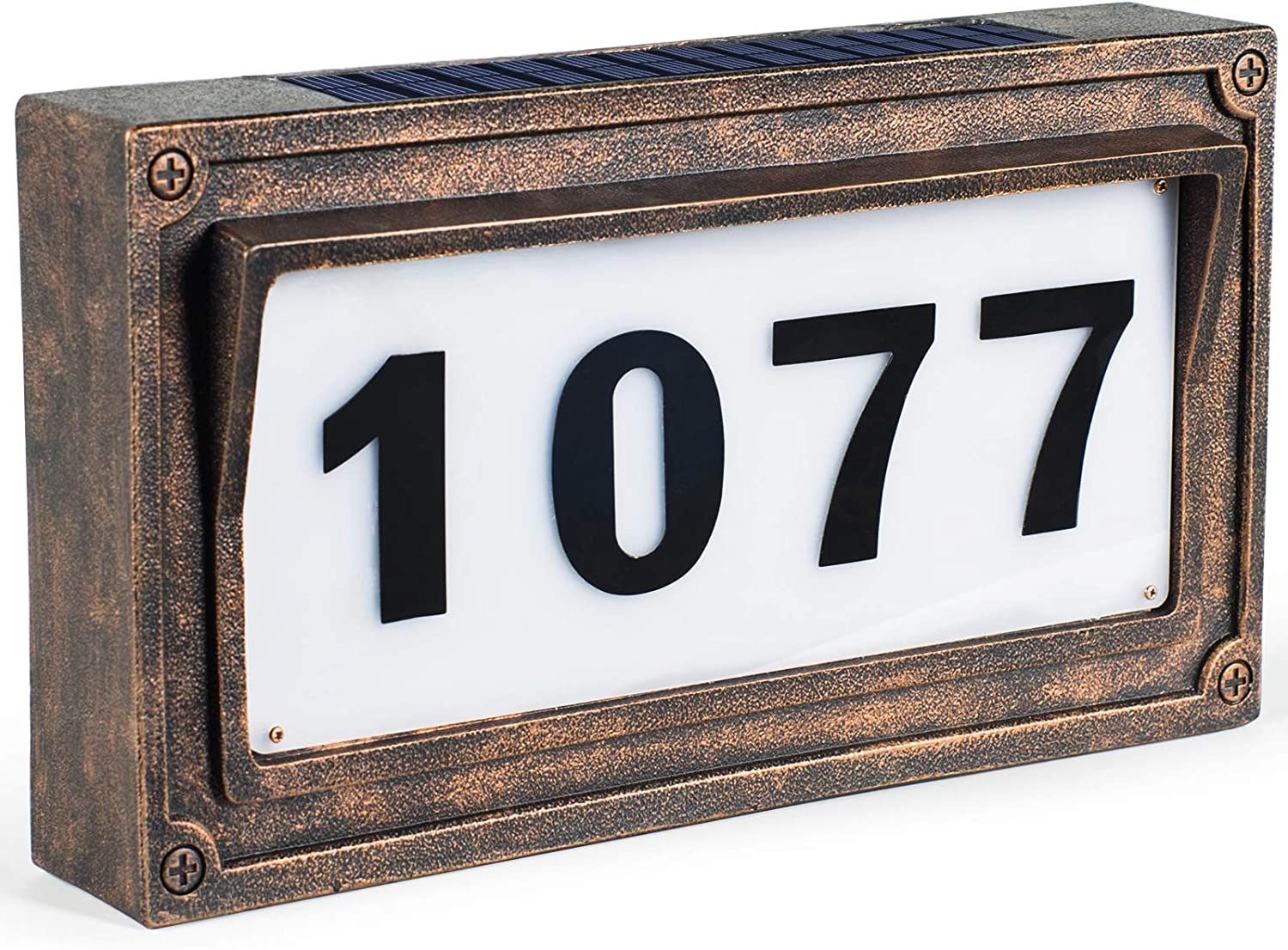 Solar House Number, Address Plaques for House, Street Signs Mailbox Numbers for Outside-Warm White Light