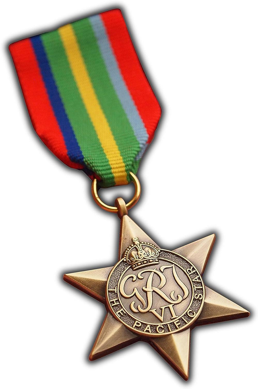 El Pacífico Star Medalla Militar Signs Commonwealth Británico Militar del Ejército de premio para     Azul Marino   RAF   réplica George VI: Amazon.es: Deportes y aire libre