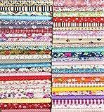 Liuliu 花柄プリント 生地 可愛い はぎれセット DIY 手芸用 布 素材 パッチワーク 給食袋、ポーチなどの作りに (50枚 30cm x 30cm)