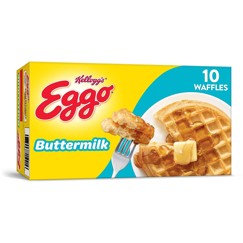 Kellogg's Eggo Buttermilk Waffles – Frozen Breakfast Food Made Easy, 12.3 oz Box (10 Count)