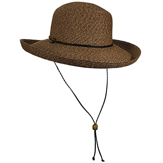 25be058532d SCALA Women s UPF 50+ Big Brim Paper Braid Chin Cord Sun Hat (Coffee ...