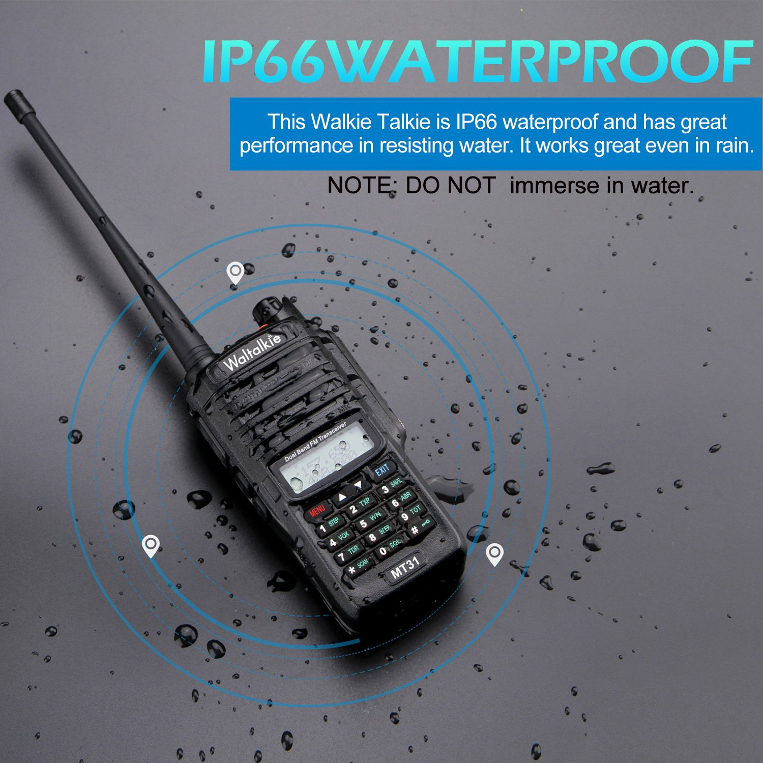 Wireless Radio Transceiver, IP66 Waterproof & Dustproof Two Way Radio Walkie Talkie with Headset/LED Flashlight/Battery/Charger for Indoor & Outdoor Activities by Waltalkie (Image #2)