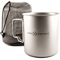 Core Element 100% Titanium 750 ml Outdoor Ultralight Portable Cooking Pot/Mug Open Campfire Cookware for Camping and…