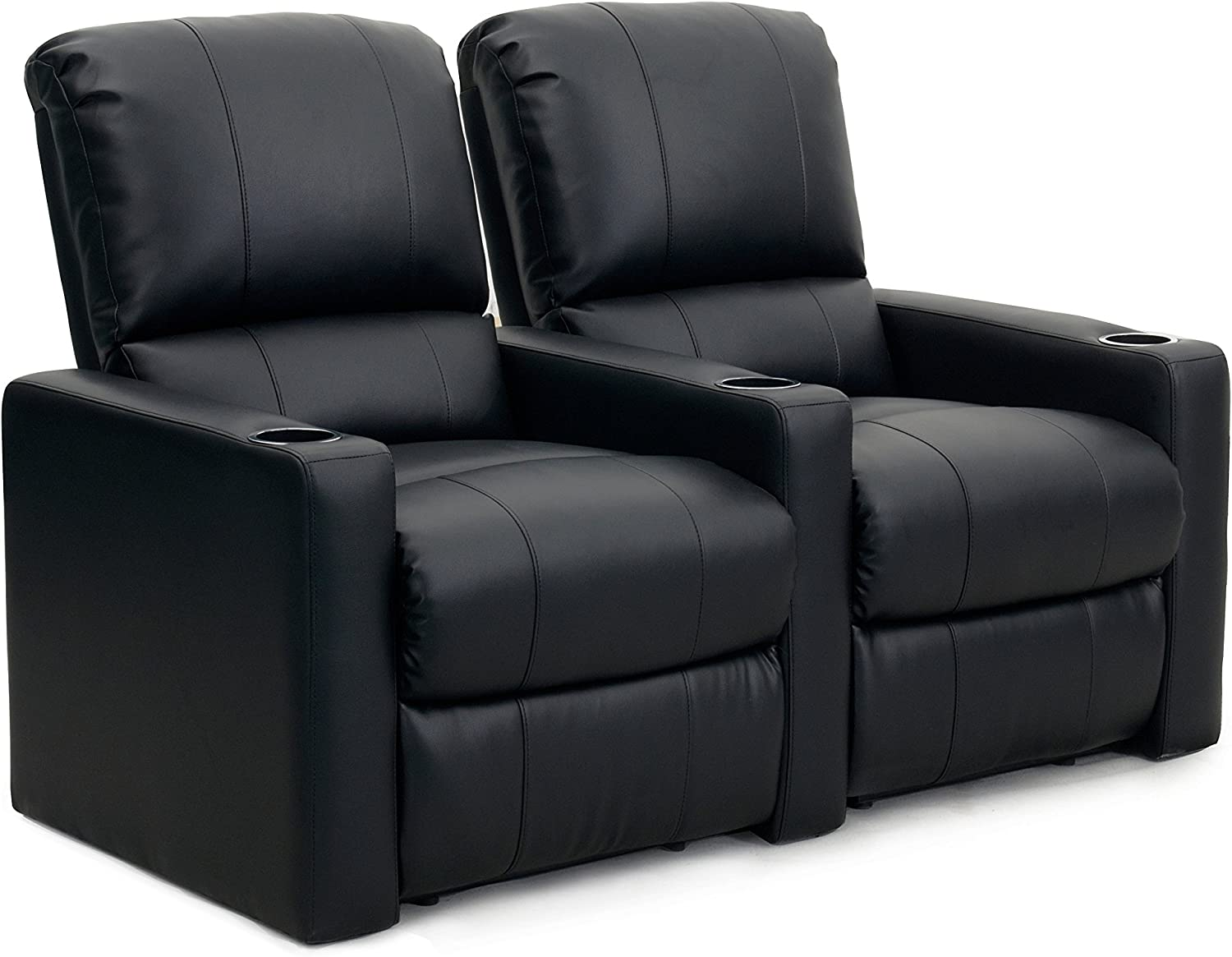 Octane Seating Octane Charger XS300 Leather Home Theater Recliner Set Row of 2 , Black