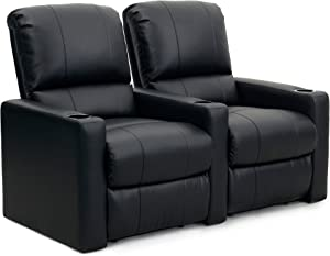Octane Seating CHARGER-R2SM-BND-BL Octane Charger XS300 Leather Home Theater Recliner Set (Row of 2), Black
