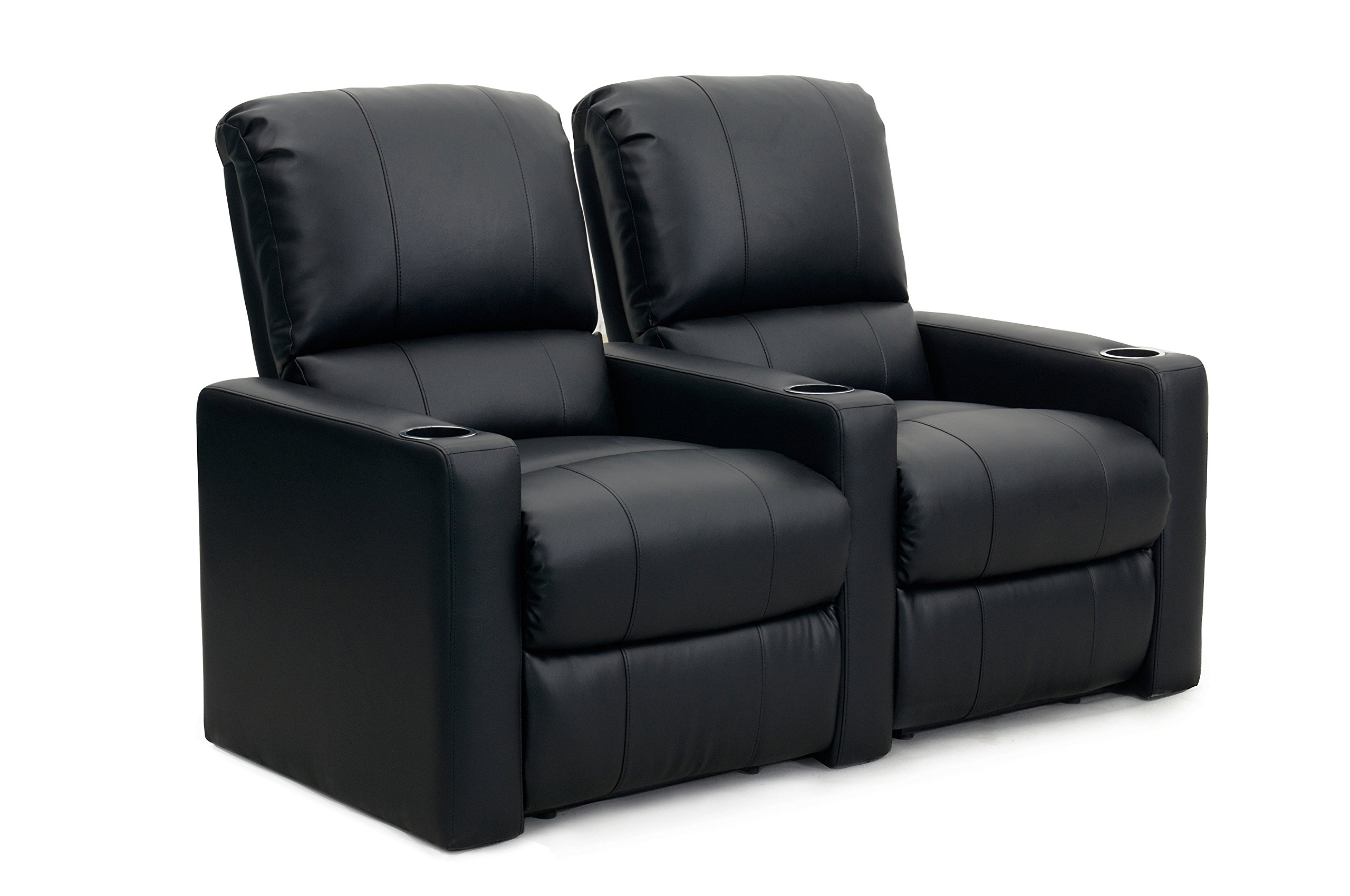 Octane Seating CHARGER-R2SM-BND-BL Octane Charger XS300 Leather Home Theater Recliner Set (Row of 2), Black by Octane Seating