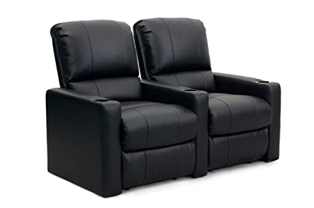 Octane Seating CHARGER-R2SM-BND-BL Octane Charger XS300 Leather Home Theater Recliner Set Row of 2 , Black