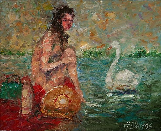 Academic Art Leda And Swan Painting