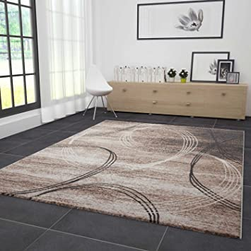 Wohnzimmer Teppich Modern Sehr Dicht Gewebt Kreisel Muster Meliert In Braun  Beige 160x230 Cm
