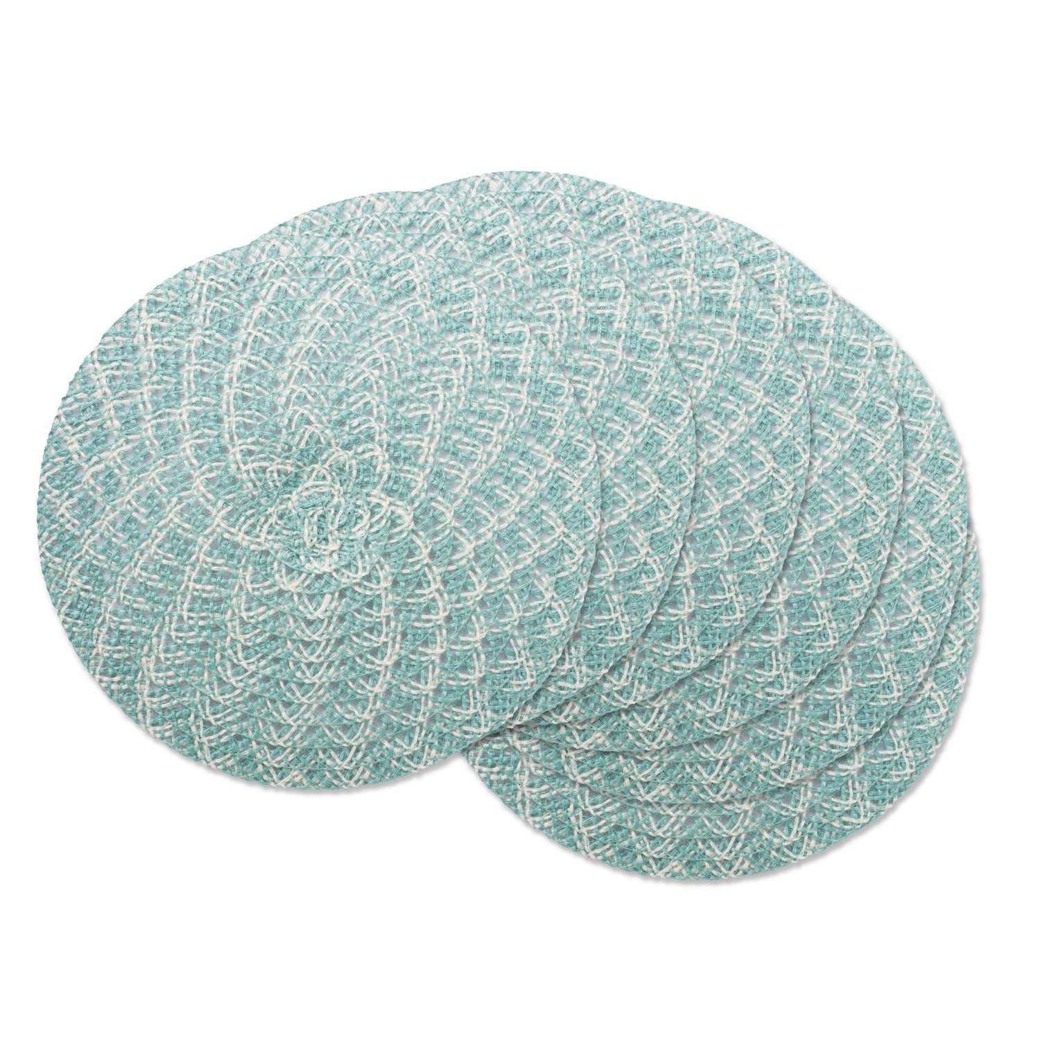 DII Round Woven, Indoor & Outdoor Braided Placemat or Charger, Set of 6, Garden Spa