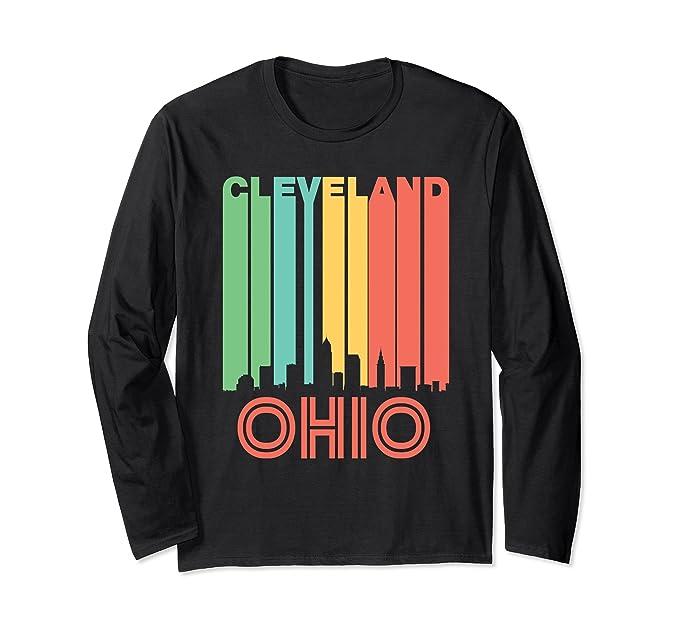 0e831062a7db Unisex Retro Cleveland Ohio Cityscape Skyline Long Sleeve T-Shirt Small  Black