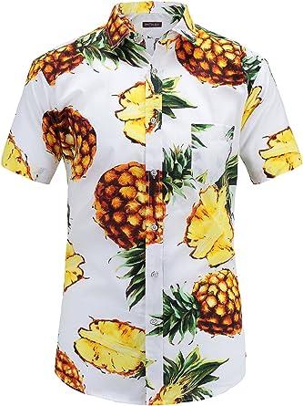 Camisa de piña para hombre de JEETOO, estilo hawaiano, estampada, de manga corta, ajustada, para el tiempo libre, informal, para verano, en las tallas S-3XL Blanco L: Amazon.es: Ropa y accesorios