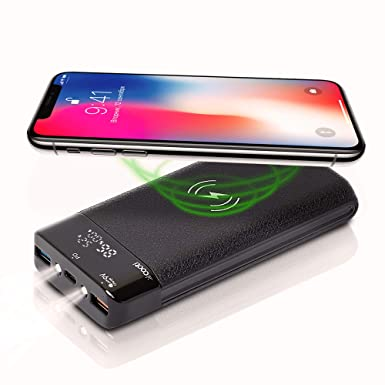 cooti-wireless-power-bank-|-power-bank-16000-mah-|-qi-wireless-charger-|fast-charger-lcd-display-18w-|-compatible-smart-devices-tablet-android-phone-&-other-cell-phones by cooti