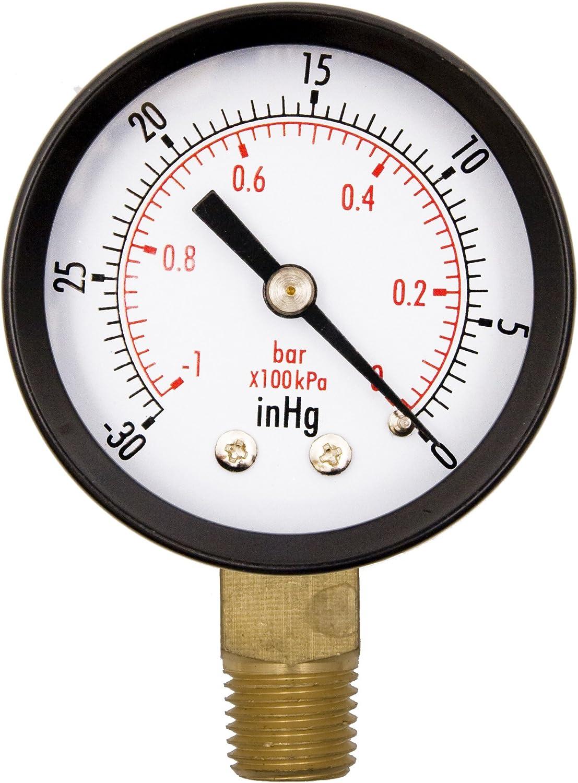 "2"" Utility Vacuum Pressure Gauge, Water Oil Gas, WOG, 1/4"" NPT Lwr Mount, 30HG/0PSI GSAD2012-VUPD, OEM"