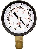"2"" Utility Vacuum Pressure Gauge for air compressor water oil gas - 1/4"" NPT Lwr Mount, -30HG/0PSI GSAD2012-VUPD"