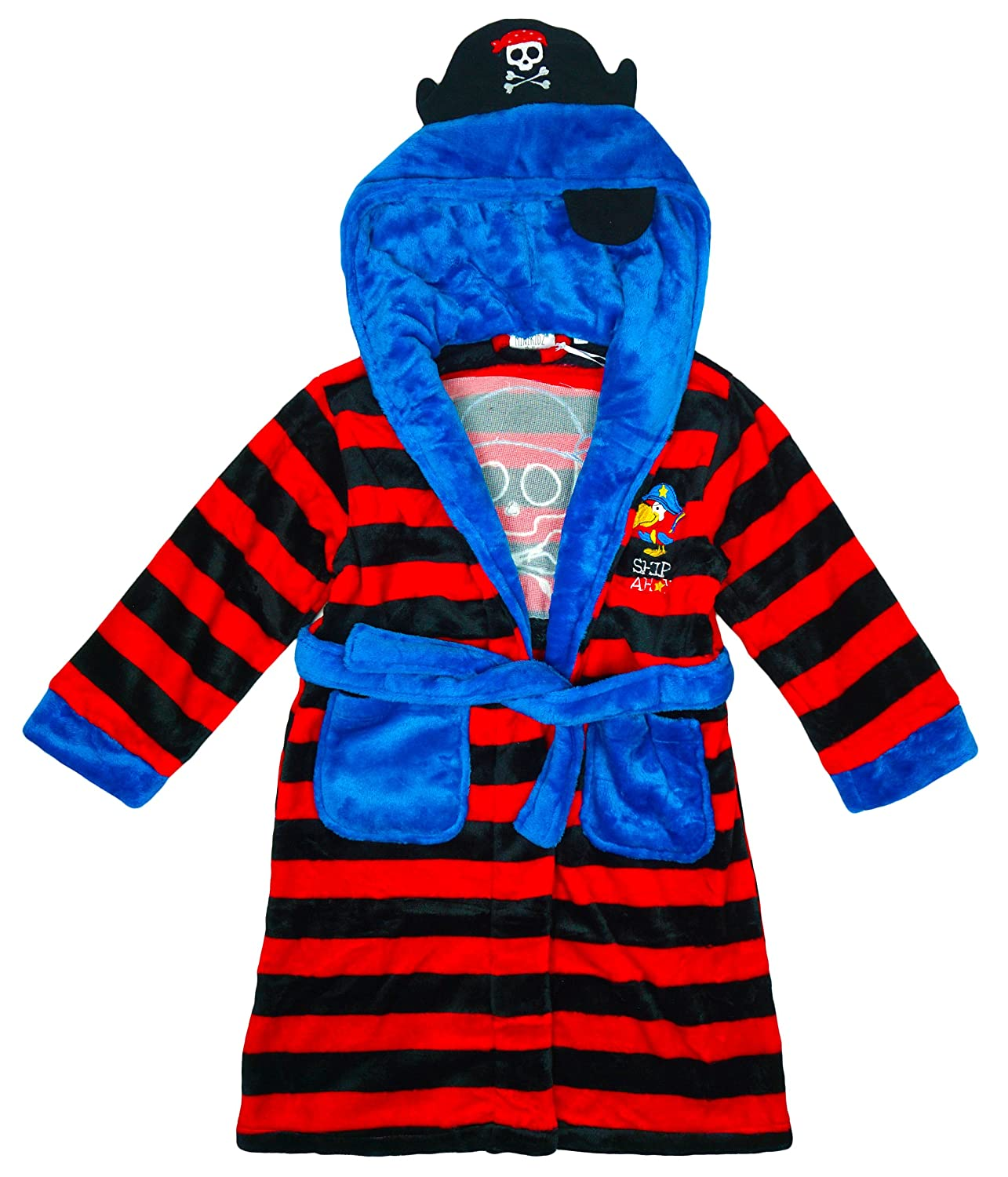 Boys PIRATE Ship Ahoy Stripe Hooded Dressing Gown Fleece Bathrobe sizes from 2 to 5 Years