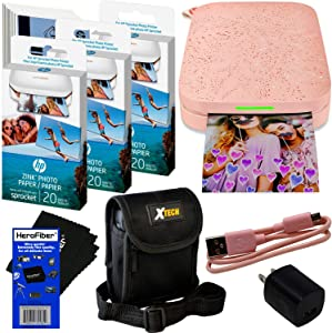 HP Sprocket Portable Photo Printer (2nd Edition) for iPhone or Android [Blush] + Photo Paper (70 Pack) + Protective Case + USB Cable w/Wall Adapter for HP Sprocket Printer + HeroFiber Cloth