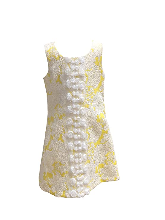 60s 70s Kids Costumes & Clothing Girls & Boys 7-16 Retro Sleeveless A-line Dress Yellow White Floral Bows Lace Flowers $39.00 AT vintagedancer.com