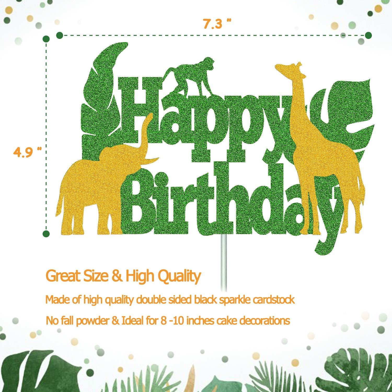 Safari Jungle Themed Birthday Party Supplies Baby Tiger Birthday Cake Decor Glitter Tiger Happy Birthday Cake Topper Zoo Animals Centerpiece