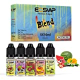 E CIG Liquids, 5 x 10ml E Liquid Mixed Fruits Flavours E Juice Made for Electronic Cigarette and E Shisha EOSVAP Vape Liquids No Nicotine
