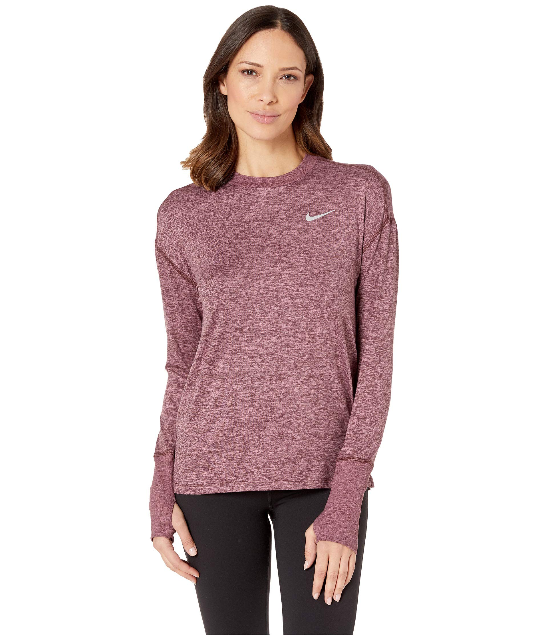 Nike Women's Element Long Sleeve Running Shirt (El Dorado/Plum Dust, X-Small)