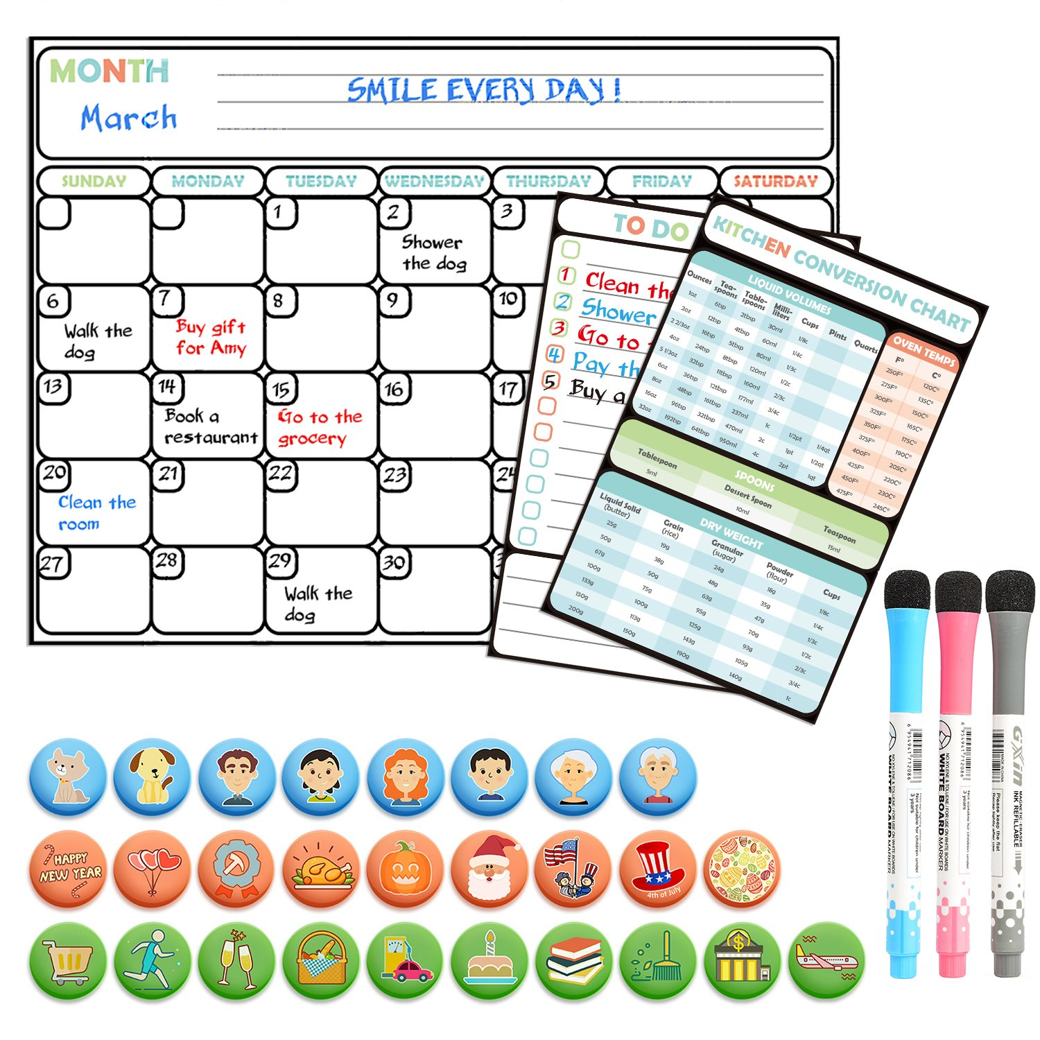 Magnetic Dry Erase Calendar for Refrigerator|Monthly Planner 16 x 12 and To Do List|3 fine Markers CNDT